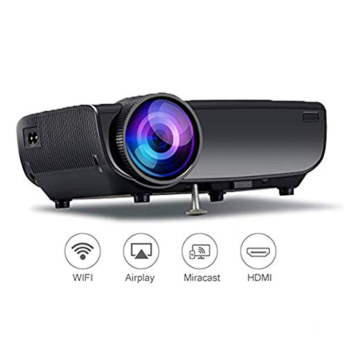 QLPP Wireless Projector Unterstützung Spiegel Link, Full HD 1080p 1500Lux LED Wireless Mini-Projektor, WiFi-Projektor…