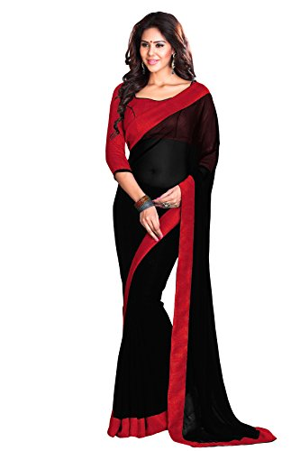 Mirchi Fashion Women's Faux Georgette Lace Party Wear Saree Free Size Black Red ()