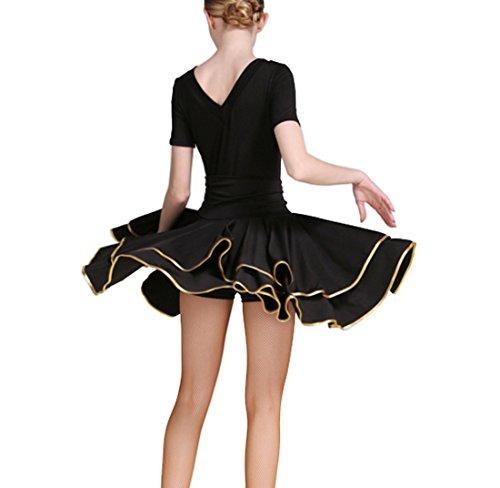 Robe Latin Vêtements Pratiques De Danse Latine Cha Cha Jupes Jupe Valse Jupe De Salon De Noir