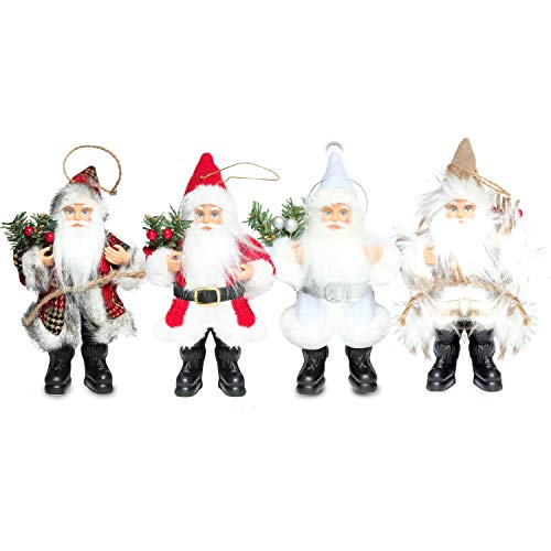 Costyleen Christmas Santa Claus Figure Decoration Ornament Gift Small Doll Toy Table Home Decor Festival Pendant Large Xmas Tree Hanging 4pc - 7.6in