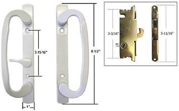STB – Cerradura para puerta corredera de cristal Patio Juego de mango con agujeros para tornillos, color blanco, lisa, 3 – 15/16