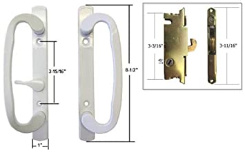STB Sliding Glass Patio Door Handle Set with Mortise Lock, White ...