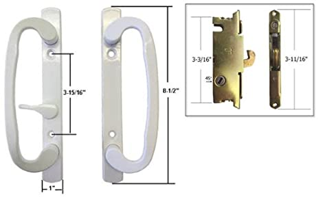 STB Sliding Glass Patio Door Handle Set With Mortise Lock, White, Non Keyed