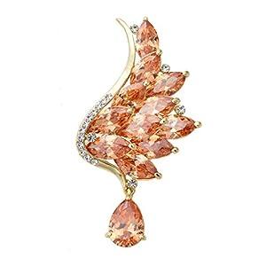 Women's Silver/Gold Tone Sparkling Crystal Angel Wing Brooch Pin Wedding Brooch