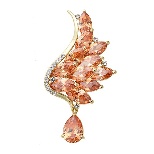 Women's Silver/Gold Tone Sparkling Crystal Angel Wing Brooch Pin Wedding Brooch