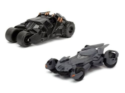 ISPLAY COLLECTION - BLACK METALS BATMAN V SUPERMAN & THE DARK KNIGHT BATMOBILE (2 CARS SET) Diecast Model Car By Jada Toys (Without Retail Box) ()