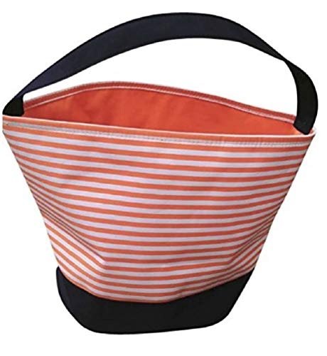 Jolly Jon Halloween Trick or Treat Bags - Kids Candy Bucket Tote Bag - Orange & White Stripes Striped