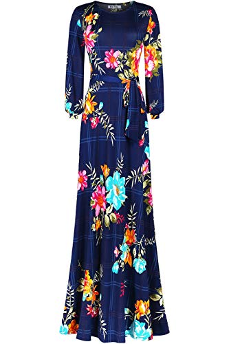 Bon Rosy Women's #MadeInUSA Long Sleeve Printed Maxi Floral Dress Summer Wedding Guest Party Bridal Baby Shower Maternity Nursing Navy XL