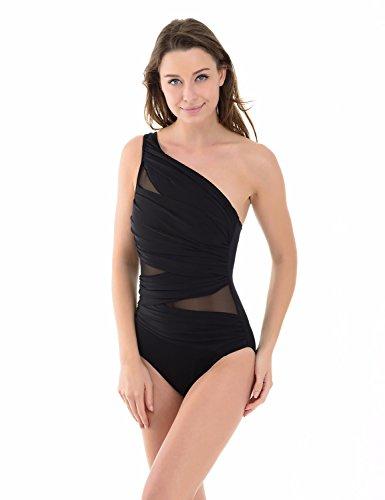Dobreva Women's One Piece One Shoulder Silhouette Swimwear Beachwear Swimsuit Black US 4-6