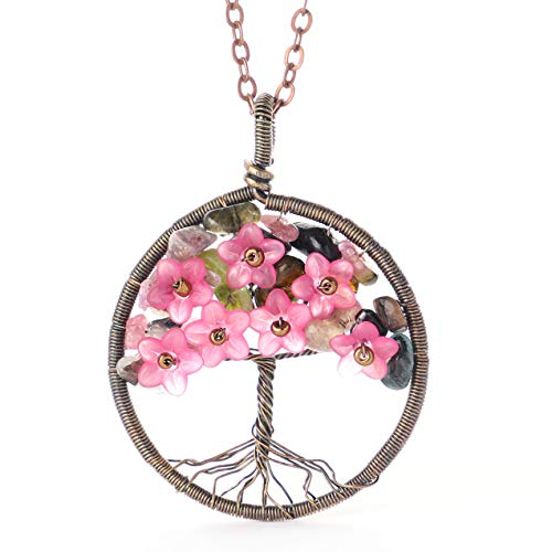 Tourmaline Gemstone Tree of Life Blossom Flower Floral Tree Pendant Necklace Gift for Women Girls