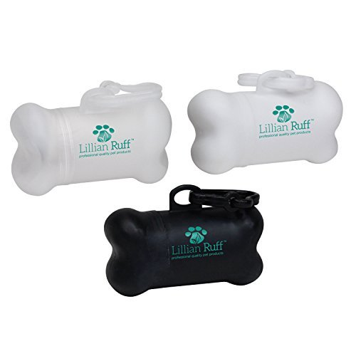 LILLIAN RUFF Bone Shaped Dog Waste Bag Dispenser with Clip | 15 Bags Included | Multicolor 3 Pc Pack