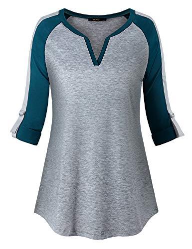 VAFOLY Womens V Neck Long 3/4 Cuffed Sleeve Casual Raglan Baseball T Shirt Tops