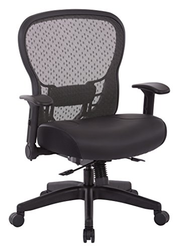 SPACE Seating R2 SpaceGrid Back and Memory Foam Bonded Leather Seat, 2-to-1 Synchro Tilt Control, Adjustable Flip Arms, Nylon Base Adjustable Managers Chair, Black