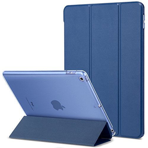 iPad 2017 iPad 9.7 inch Case, iPad Magnetic Cover 9.7, ULAK PU Leather Trifold Stand Smart Case Auto Sleep Wake Microfiber Lining Transparent Hard Back Cover for iPad 9.7 inch 5th Gen, Navy Blue
