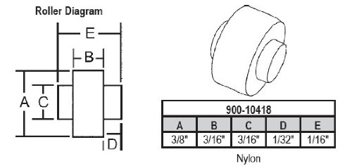 Replacement Nylon Window (Sliding Window Replacement Roller, Nylon Wheel, with Fixed Axle, 3/8