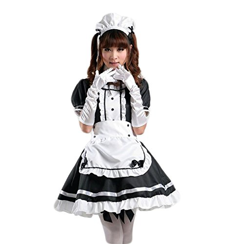 COCONEEN Women's Anime Cosplay French Apron Maid Fancy Dress Costume Black -