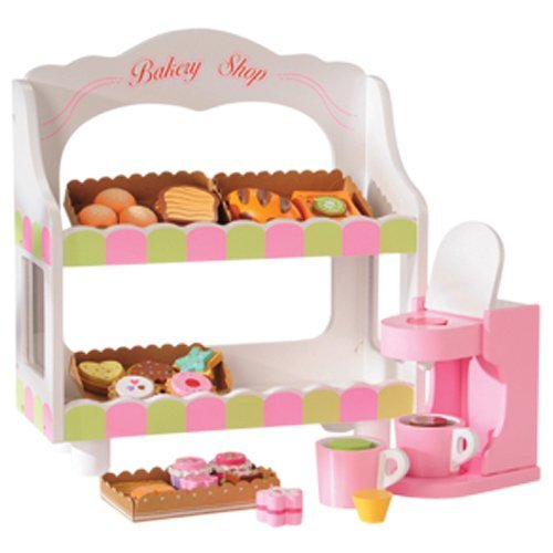 CP Toys 30 pc. Pretend Play Wooden Bake Goods and Latte Machine Playset