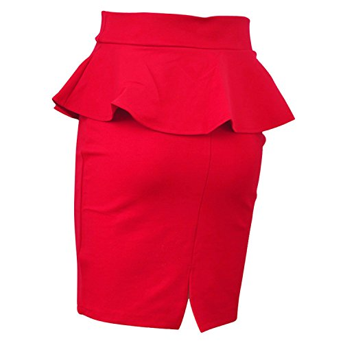 Femme Jupes Femmes Jupes OL Lotus Leaf Bodycon Stretch Taille Haute Package Hip Jupe Femmes Taille Haute Jupes Crayon Red