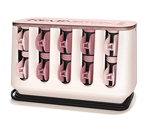 Remington Proluxe H9100 Kit de Rulos Calientes para el Pelo, Aterciopelados, Pinzas de Ceramica, 20 Rulos, Oro Rosa
