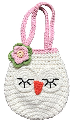 Sweetheart Owl Mini Handbag, Best Gift For Young  Little Girls, Cute Ivory  Pink Purse, Heart On Back, Handmade Crochet, Soft Yarn, Wristlet For All…