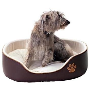 Amazon.com: Cama de perro de piel sintética – grande – café ...