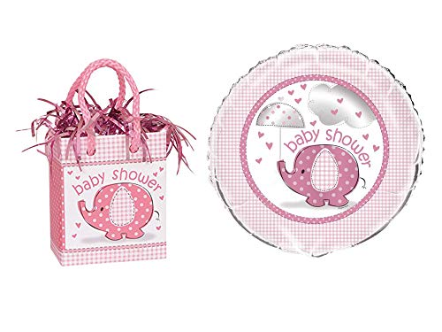 UNIQUE - Pink Elephant Girl Baby Shower Balloon Weight and 18