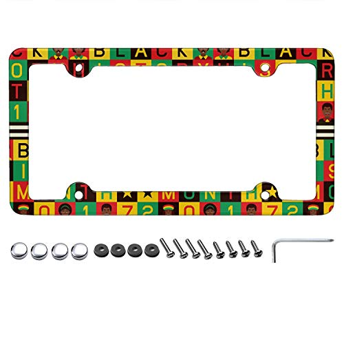 Black History Month Vector Color White License Plate Frame Plate Frame US Universal License Plate Frame