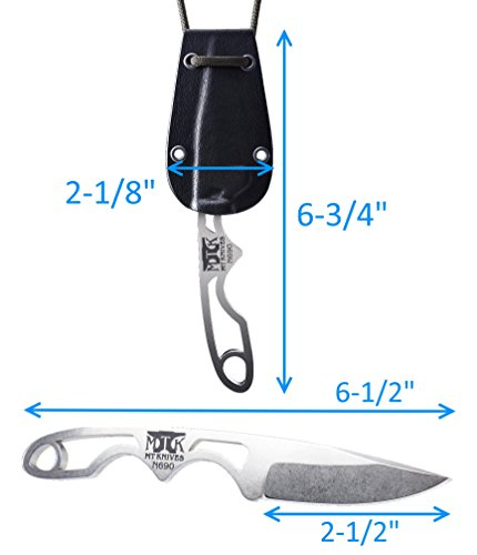 Genesis EDC Survival Neck Knife with Kydex Sheath Ultra Lightweight 2.5oz Stainless Steel Drop Point Blade. Made in America,.