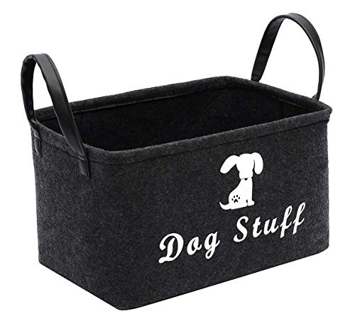 Morezi Felt Pet Toy and Accessory Storage Bin, Basket Chest Organizer – Perfect for Organizing Pet Toys, Blankets, Leashes and Food