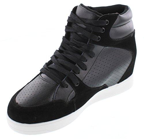 Calto H11281-2.6 Inches Taller - Height Increasing Elevator Shoes - Zwart Lederen Veterschoenen Met Contrasterende Sneakers
