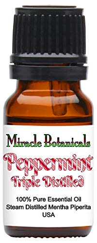 Miracle Botanicals Triple Distilled Peppermint Essential Oil - 100% Pure Mentha Piperita - Therapeutic Grade - 10ml
