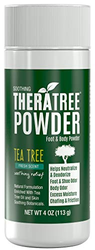 TheraTree Foot, Body and Shoe Powder with Tea Tree for Odor and Moisture Control with Organic and Natural Ingredients - Fresh Scent 4 oz