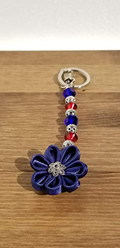 Blue and Red Satin Flower Ribbon Beaded Keychain