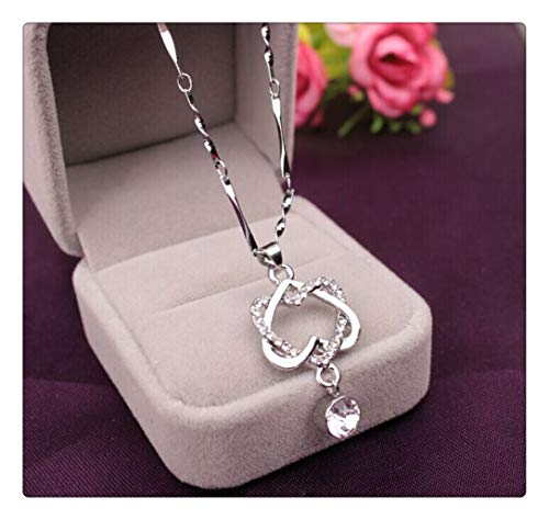 (FRCOLT Fashion Women's Glamorous Double Heart Pendant Necklace Chain Jewelry Sweater Chain Necklace (Silver, alloy))