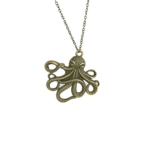 UMBRELLALABORATORY Steampunk Octopus Necklace   Victorian Style, Gold Finish Handmade Pirate Accessory -
