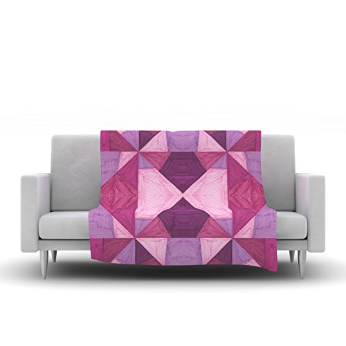 Kess InHouse Empire Ruhl Purple Angles Pink Geometric Fleece Throw Blanket 40 x 30