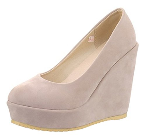 Aisun Womens Simple Comfort Low Cut Round Toe Slip On Platform High Heel Wedge Pumps Shoes Beige