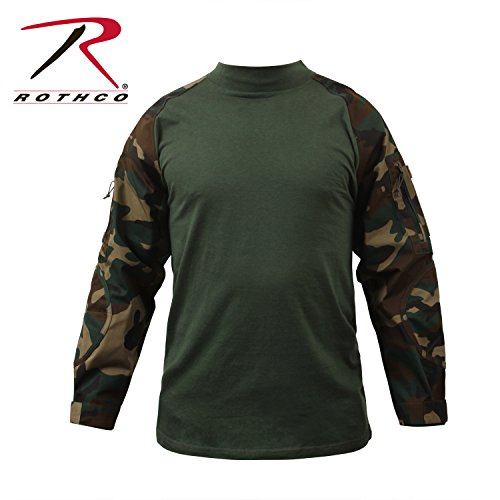 Woodland T-shirt Army Camo Cotton (Rothco Combat Shirt, Woodland Camo, Large)