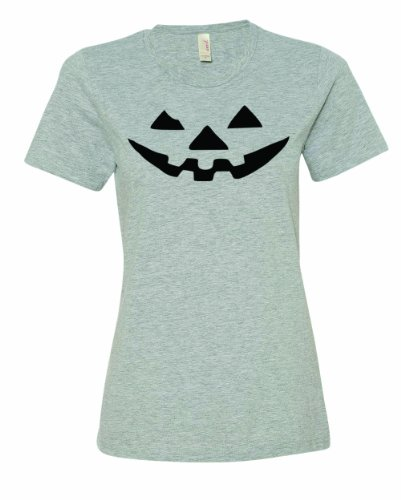 Fourth Doctor Costume Shirt (Ladies JACK-O-LANTERN. Halloween Pumpkin Smily Face Costume. T-Shirt-Sport Gray-2X)