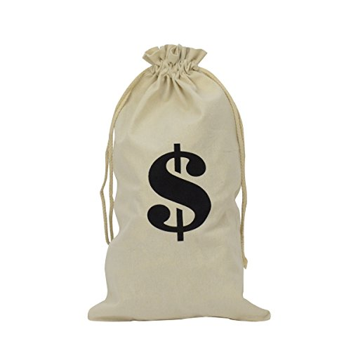 Bank Robber Costume For Halloween (Novelty Cloth $ Money Bag Costume Accessory Movie, Play, Theater Prop)