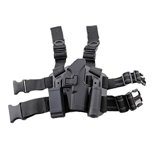 haoYK Adjustable Tactical Airsoft Pistol Drop Leg Holster Bag Thigh Right Leg Holster with Magazine Torch Pouch for Glock 17 19 22 23 31 32