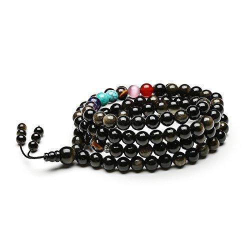 Liuanan Yoga Meditation 108 Tibetan Natural Obsidian & Onyx 7 Chakra Semi Precious Gemstone Wrap Bracelet Necklace (6mm Obsidian) (Onyx Tibetan)