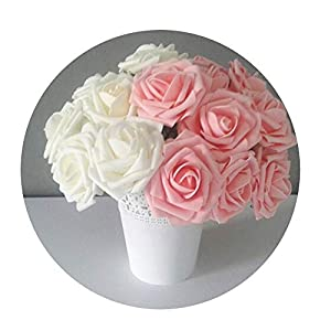 DraFenn 5Pcs/Lot Multicolor Pe Foam Flowers Artificial Rose Flower Wedding Bridal Bouquet Home Decor Rose DIY 96
