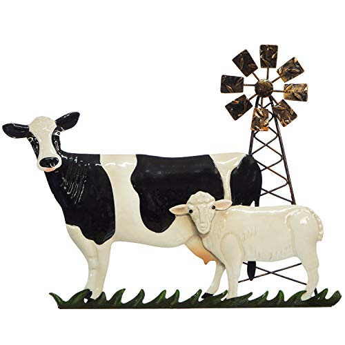 Cow Sheep & Windmill Wall Decor - Metal 3D Design - Hand-Painted - 16 ½