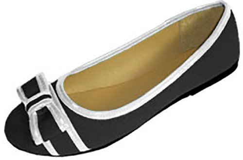 Womens Canvas Ballerina Ballet Flats Shoes W/Bow & Patent Trim (7/8, Black/White 4043) (Black Bow Flat)