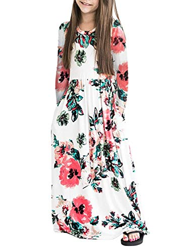 ZESICA Girl's Summer Short Sleeve Floral Printed Empire Waist Long Maxi Dress with Pockets by ZESICA