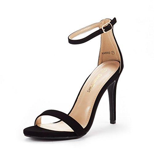 DREAM PAIRS Women's Karrie Black Nubuck High Stiletto Pump Heel Sandals Size 5 B(M) -