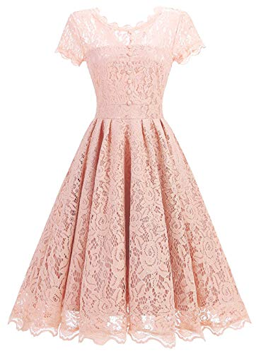 Tecrio Women Elegant Vintage Floral Lace Capshoulder Cocktail Party Swing Dress S Light Pink