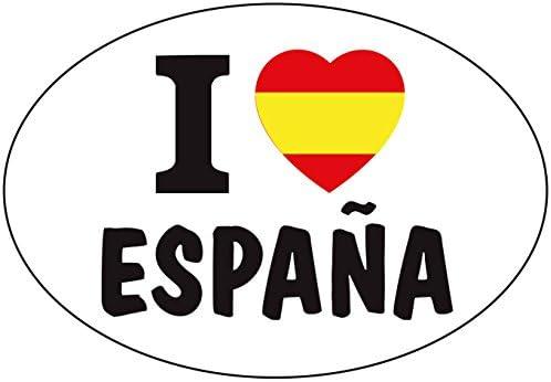 Amazon.es: Artimagen Pegatina Bandera Oval I Love España 80x60 mm.