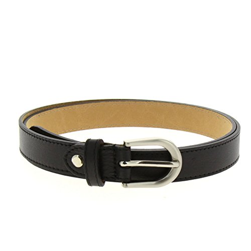 FASHIONGEN - Women genuine Italian leather belt LUNA for thousers, jeans - Black, 75 cm (29.50 in) / Trousers 1 to 5